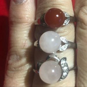 Rings sterling silver with stone size 7